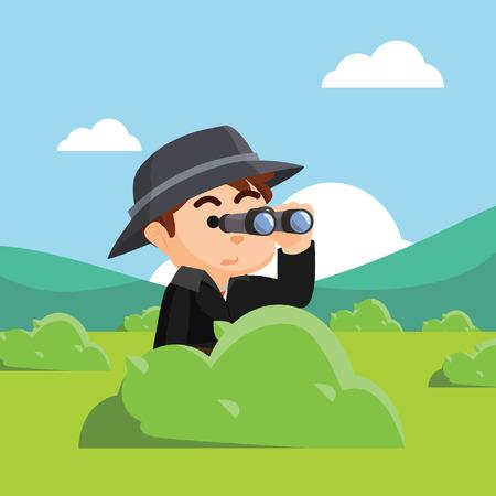using: spy agency using binocular behind big grass