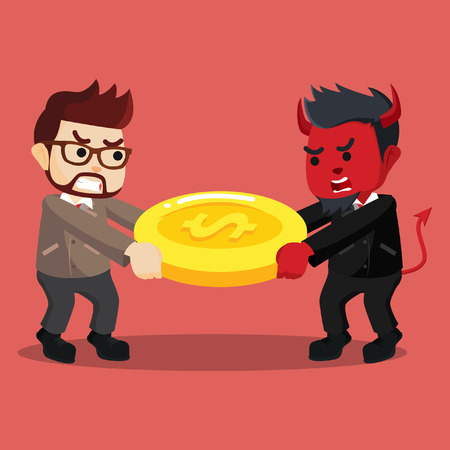 사업가 다른 사업가와 돈을 출격 일러스트