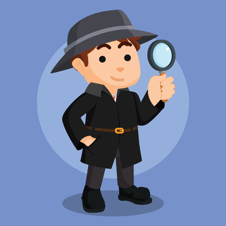 detective agency: spy agency holding magnifying glasses Illustration