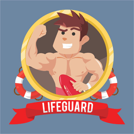 life guard: life guard in emblem with banner