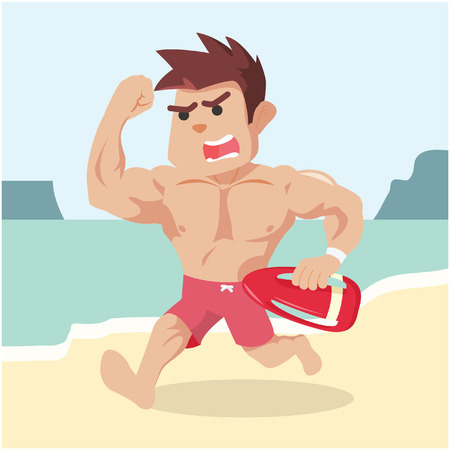 and assistance: lifeguard running to provide assistance Illustration