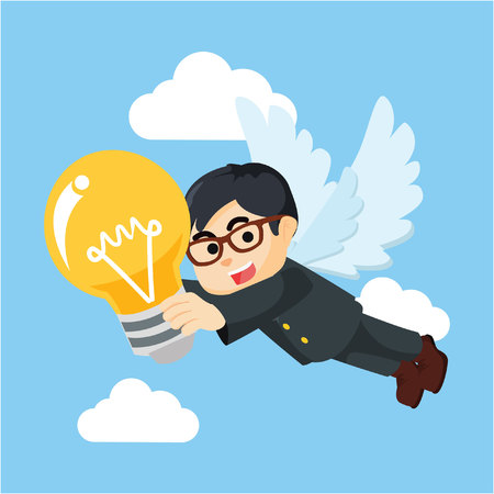 businessman angel bring bulb Illustration