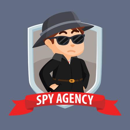 La agencia de espionaje en el emblema con la bandera