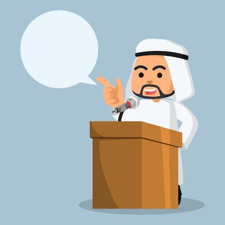 árabe empresario pronunciar discurso con un llamamiento a cabo