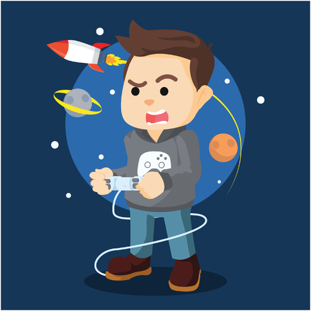 gamers: men gamers playing console Illustration