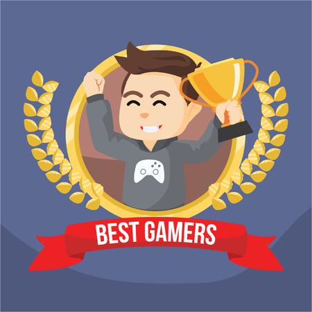 gamers: boy gamers winning trophy banner Illustration
