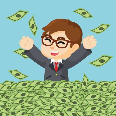 businessman happy in sea of money