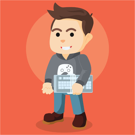 gamers player holding console Illustration