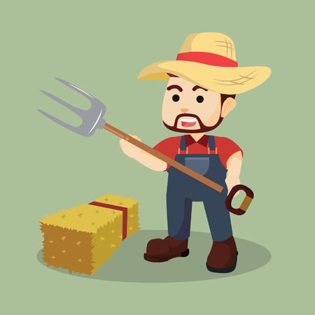 hay: farmer with hay fork