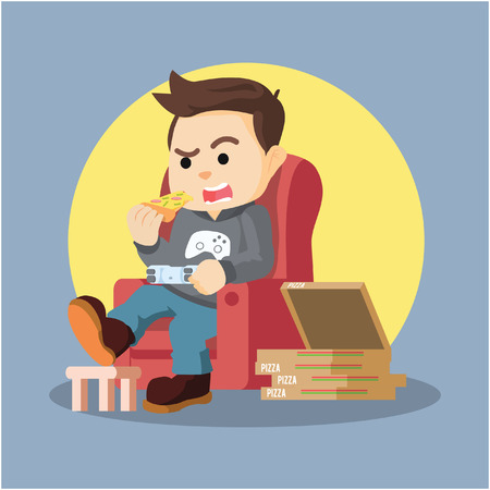 gamers: a man gamers playing in sofa while eating pizza Illustration