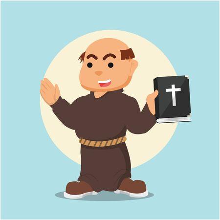 in monastery: monk holding bible illustration design Illustration