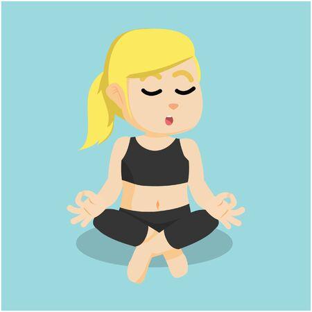 meditating: girl meditating at yoga