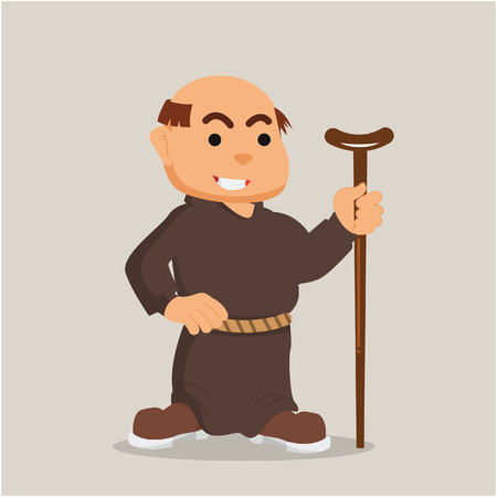 christian young: monk with walking stick illustration design