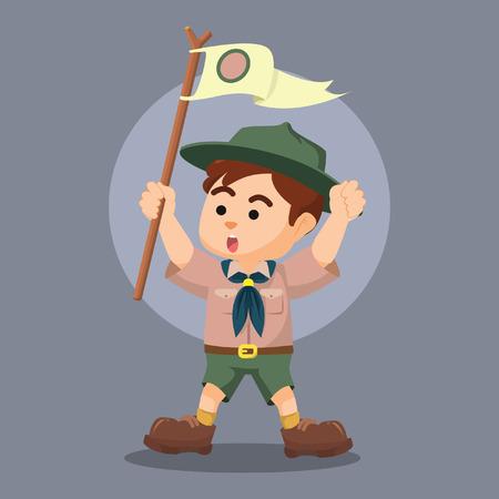 yelling: boy scout holding pole yelling Illustration