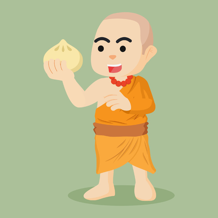 freehand tradition: monk holding meatbun illustration design
