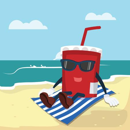refresco relajado en la playa