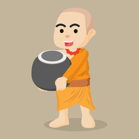 alms: monk holding alms bowl illustration design