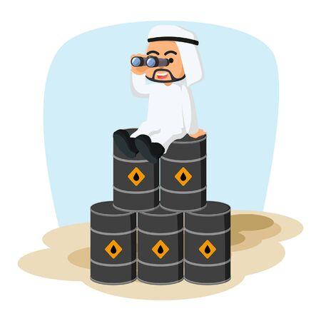 barrell: arab businessman use binocular on top of oil barrell Illustration