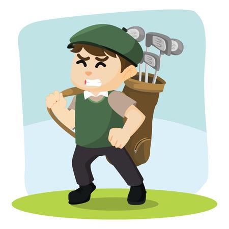 golf player: golf player carrying golf bag