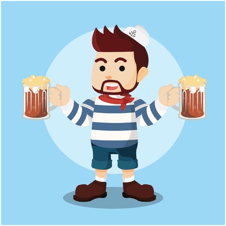 beers: shailor holding two beers in hand illustration design