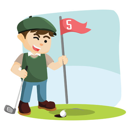 the entering: golf player letting his ball entering hole