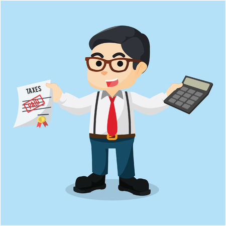paid: accountant holding calculator and paid taxes