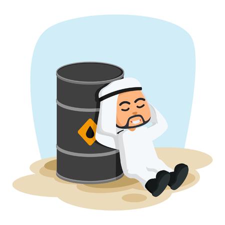 steel drum: arab businessman lying on his oil barrel