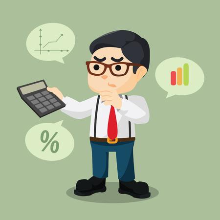 the percentage: accountant counting percentage illustration design Illustration
