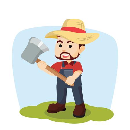 timber cutting: farmer holding axe illustration design