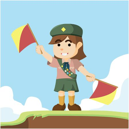 scout: scout girl playing semaphore Illustration