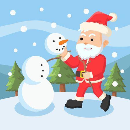 santa clause making a snow man