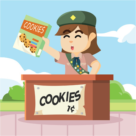 selling: scout girl selling cookies Illustration