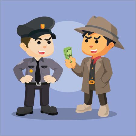cited: mafia bribing police illustration design Illustration