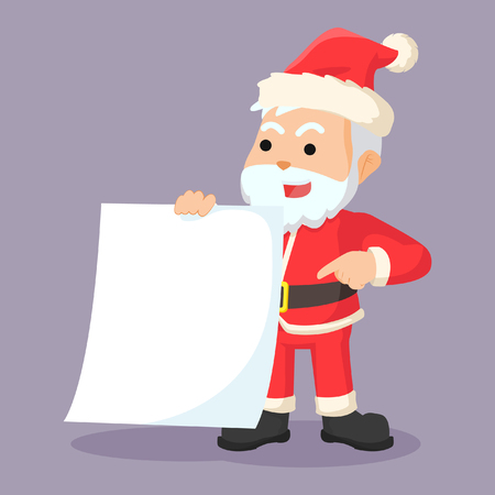 clause: santa clause holding blank paper Illustration