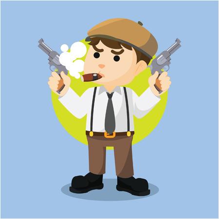 mafia guy holding two gun