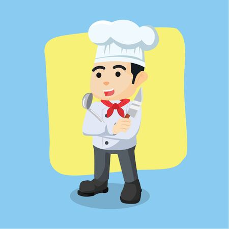 soup spoon: chef holding knife and soup spoon Illustration