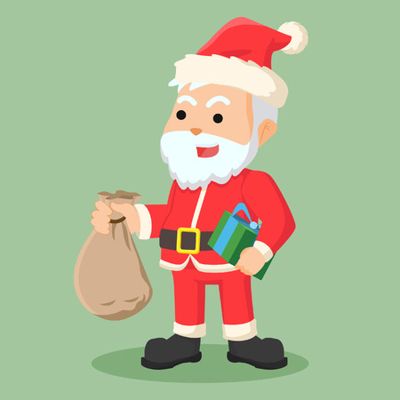 clause: santa clause holding sack of gift