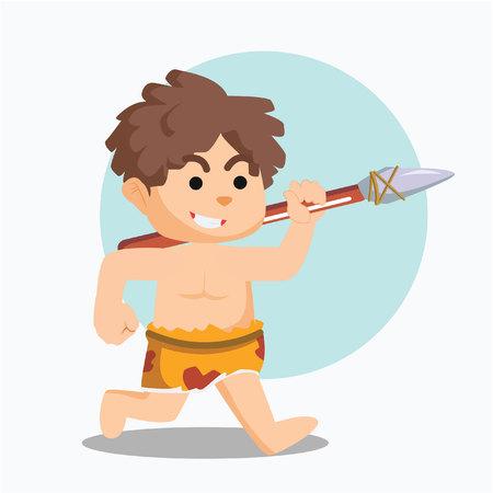 paleolithic: caveman running with stone spear Illustration