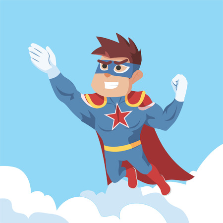 superhero flying illustration design