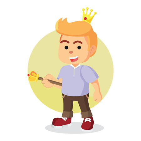 golden hair: modern prince holding scepter
