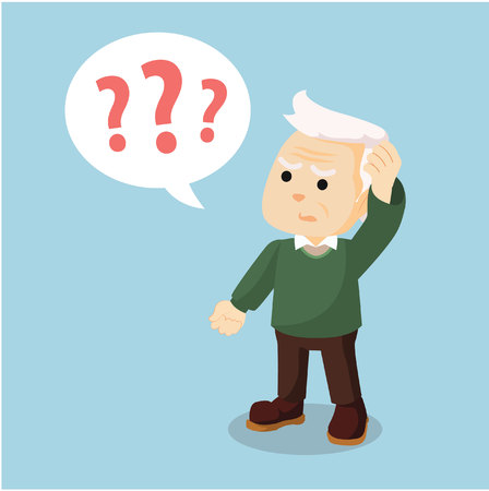 old man confused holding head Illustration