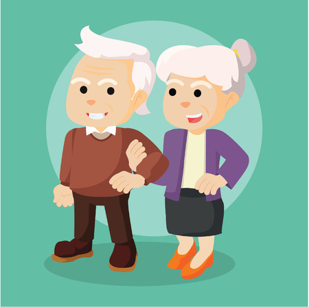retired: old couple holding hand each other
