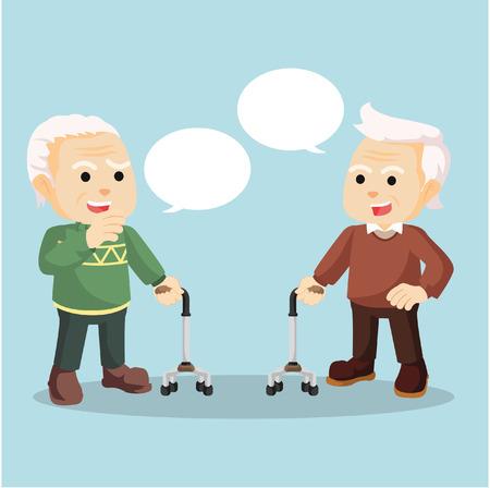 sidewalk talk: old man talking each other Illustration