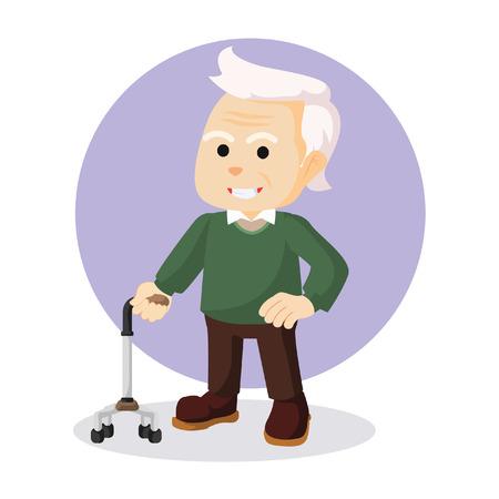 mature adult: old man holding walking stick