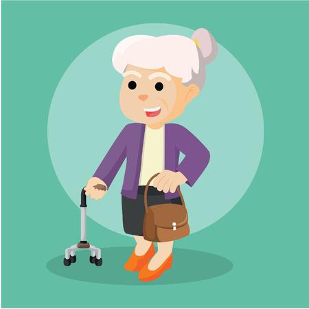 Alte Frau mit Gehstock und Tasche