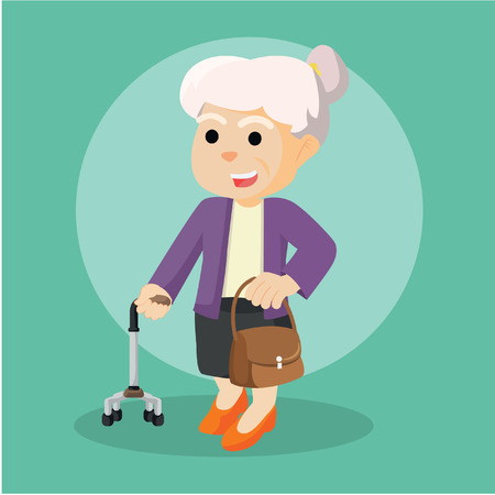 woman holding bag: old woman holding walking stick and bag