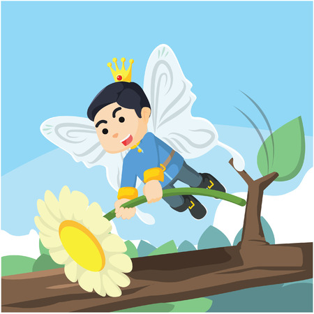 fairy prince hold a flower Illustration