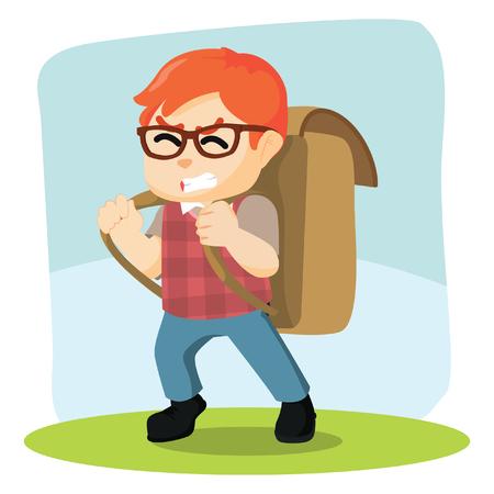 boy carrying giant bag pack Illustration
