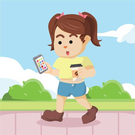 sipping: Modern princess walking while holding coffee and mobile phone