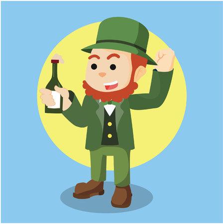 botle: leprechaun holding botle of beer